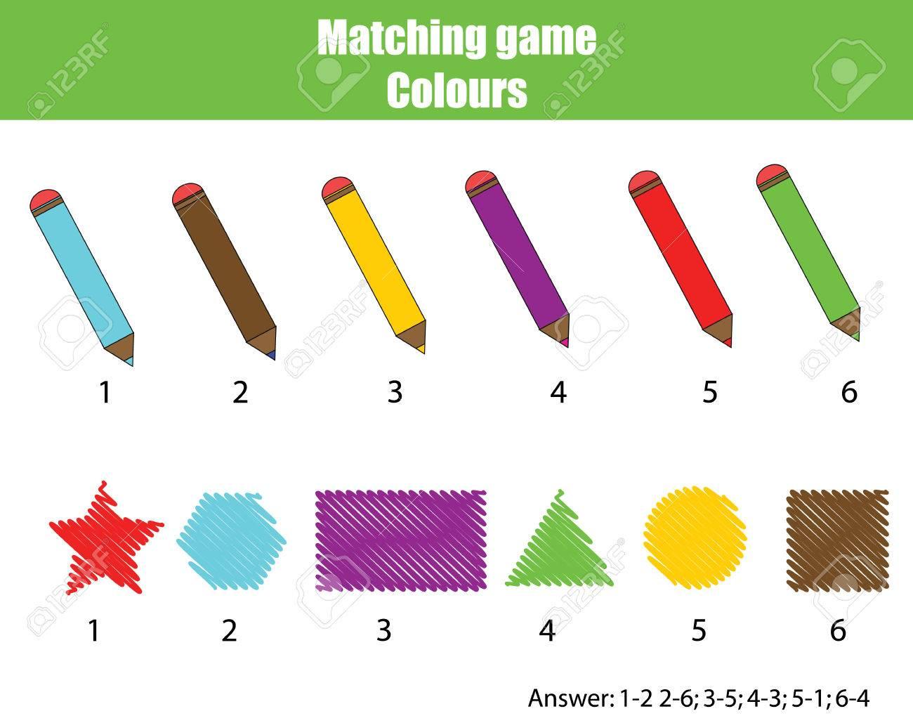 Jeu Éducatif Des Enfants. Matching Jeu Feuille De Calcul Pour Les Enfants.  Couleurs Et Des Formes D'apprentissage Thème concernant Jeu Calcul Enfant