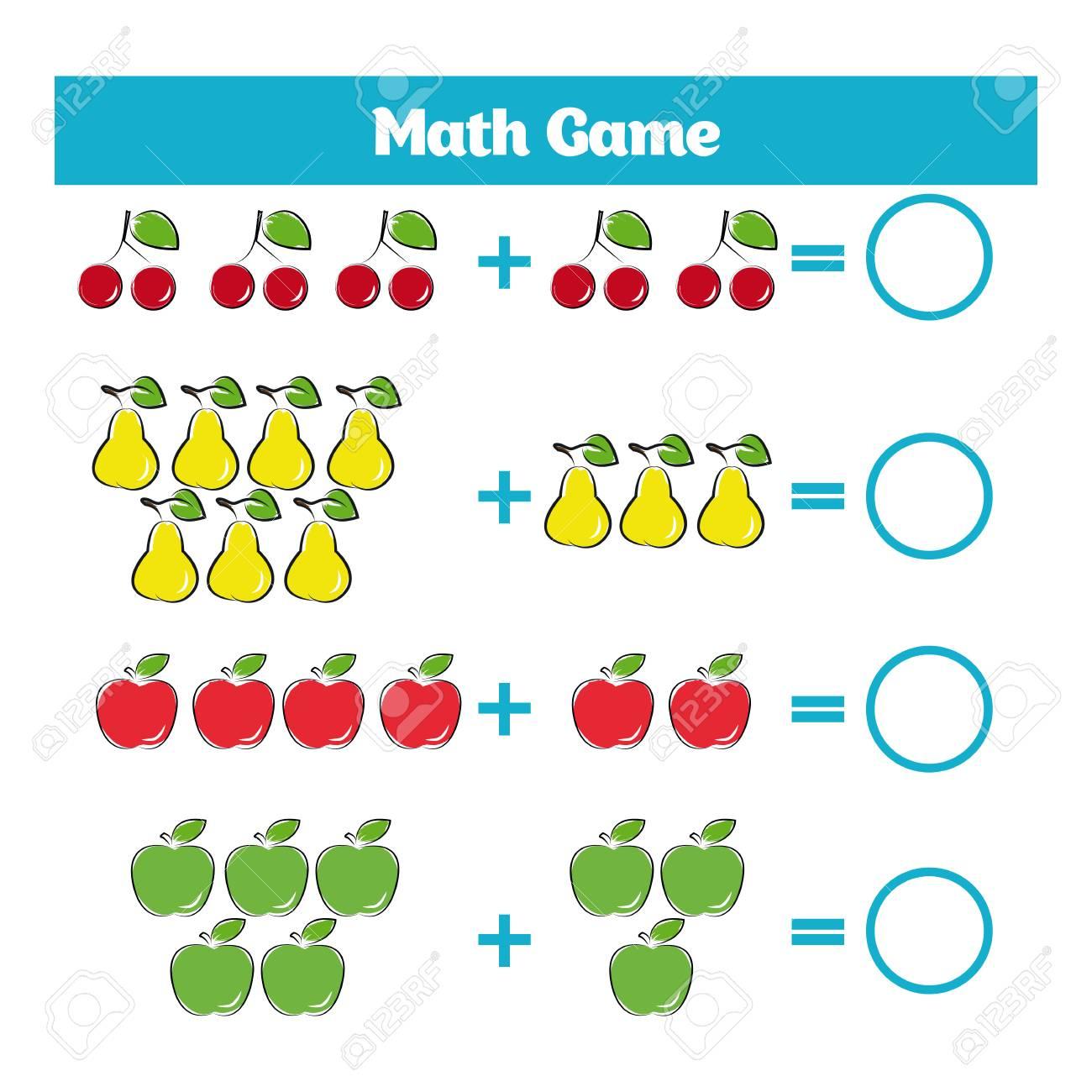 Jeu Éducatif Mathématique Pour Les Enfants. Apprentissage Soustraction  Feuille De Calcul Pour Les Enfants, En Comptant L'activité. Illustration dedans Jeu Calcul Enfant