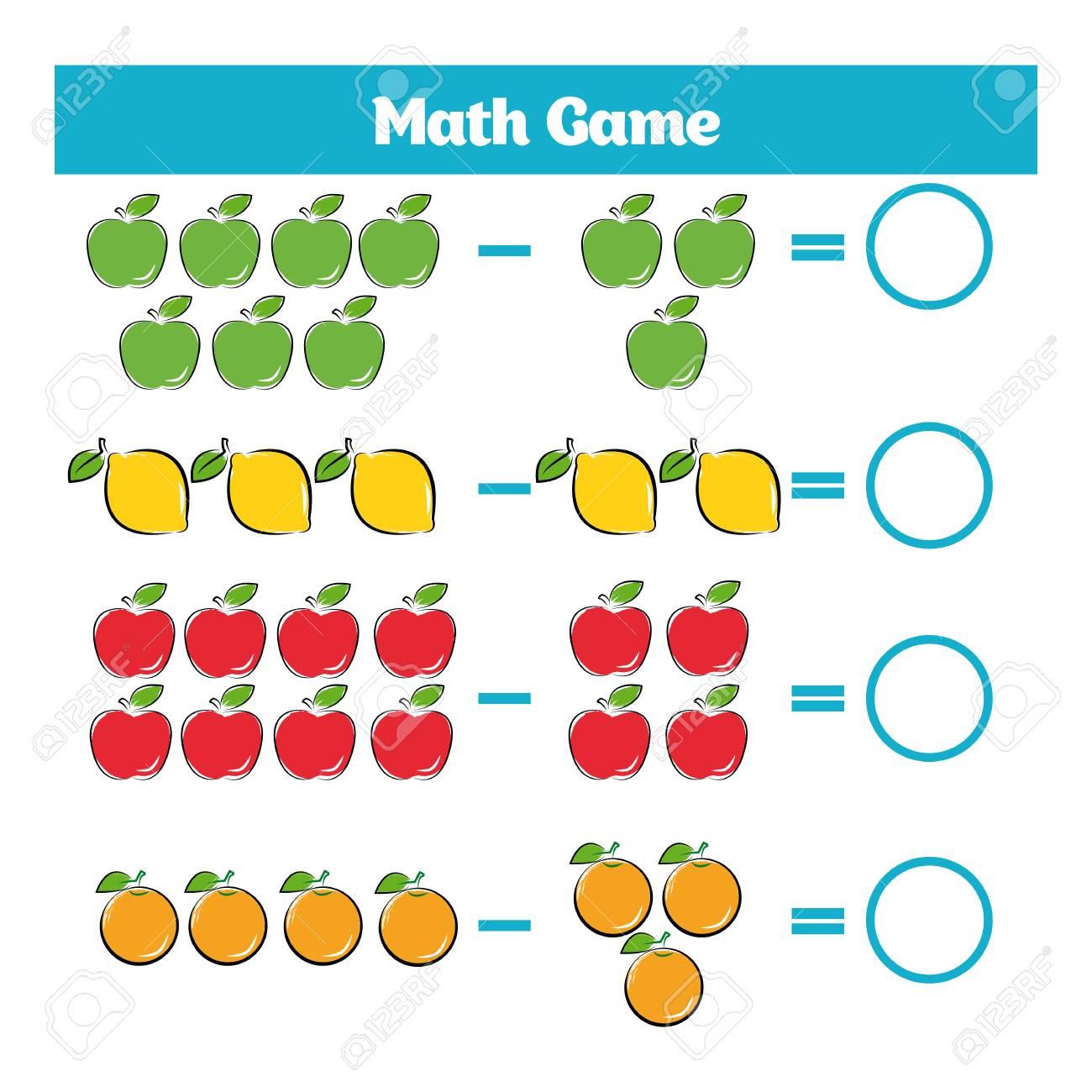 Jeu Éducatif Mathématique Pour Les Enfants. Apprentissage Soustraction  Feuille De Calcul Pour Les Enfants, En Comptant L'activité. serapportantà Jeu Calcul Enfant