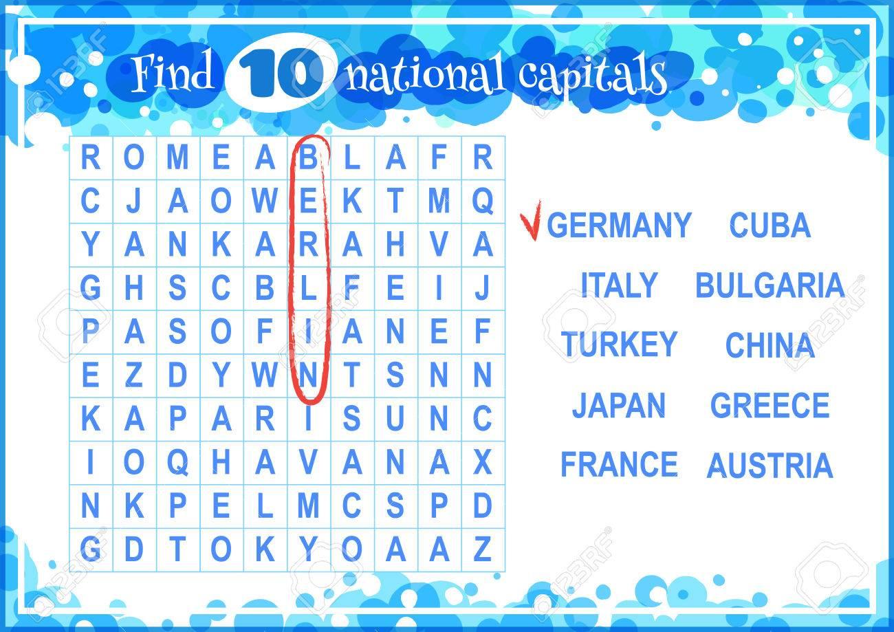 Jeu Éducatif Pour Les Enfants, La Recherche De Mots. Trouver 10 Capitales  Nationales. Feuille De Travail Pour La Classe Ou À La Maison Avec Les à Jeux De Mots A Trouver