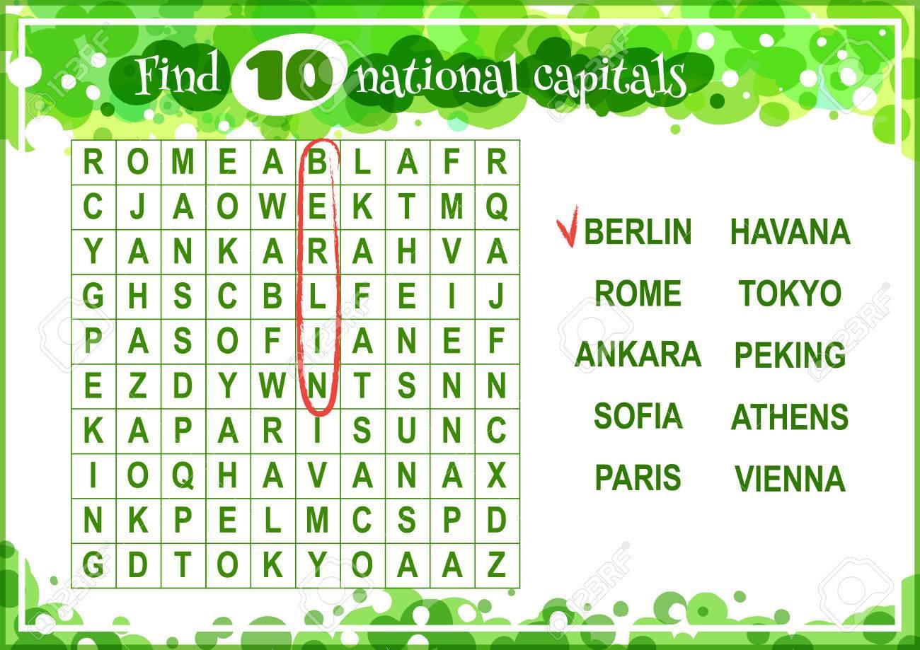 Jeu Éducatif Pour Les Enfants, La Recherche De Mots. Trouver 10 Capitales  Nationales. Feuille De Travail Pour La Classe Ou À La Maison Avec Les dedans Jeu Des Capitales