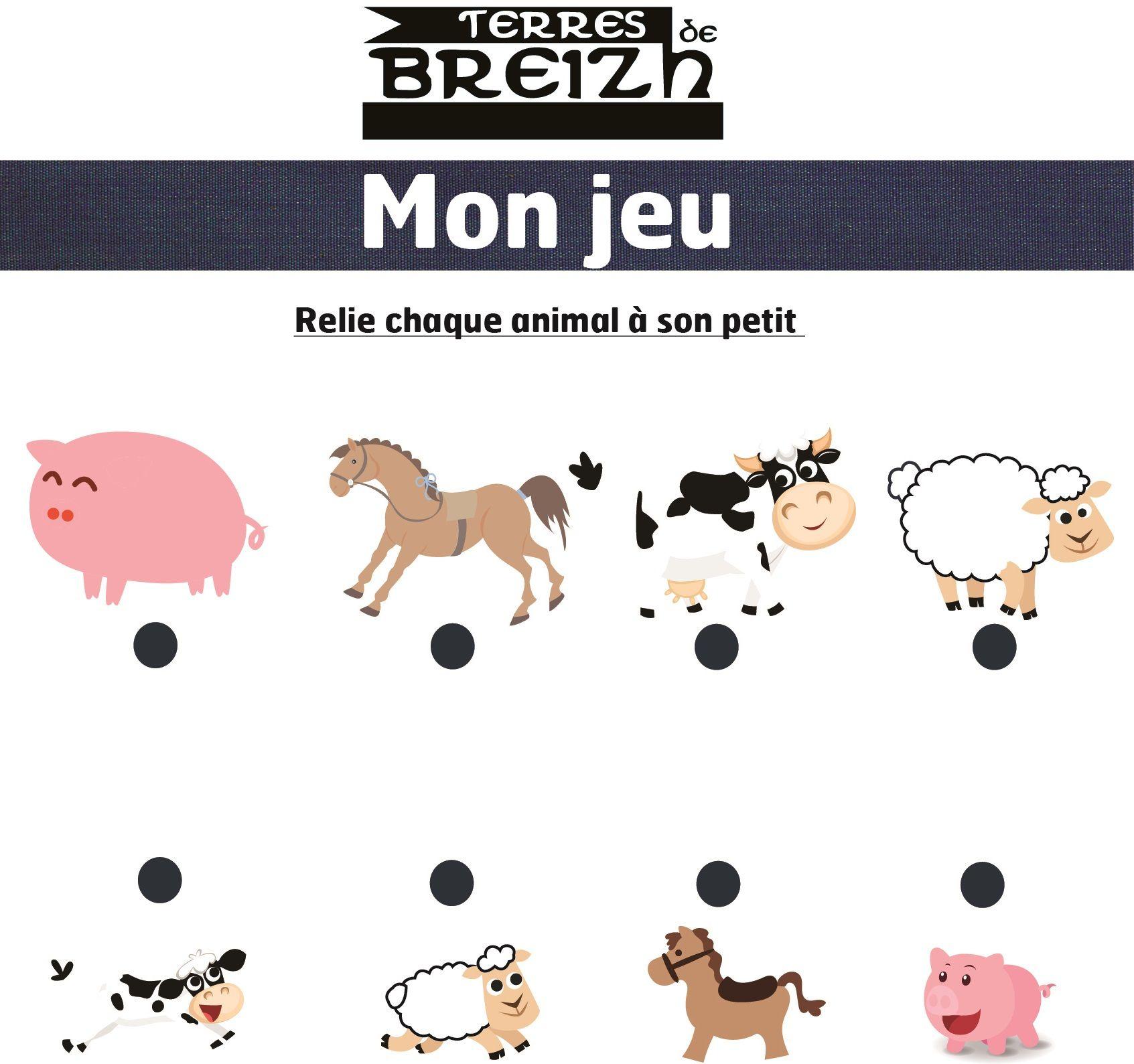 Jeu Enfant - Relie Chaque Animal À Son Petit destiné Jeux Enfant Animaux