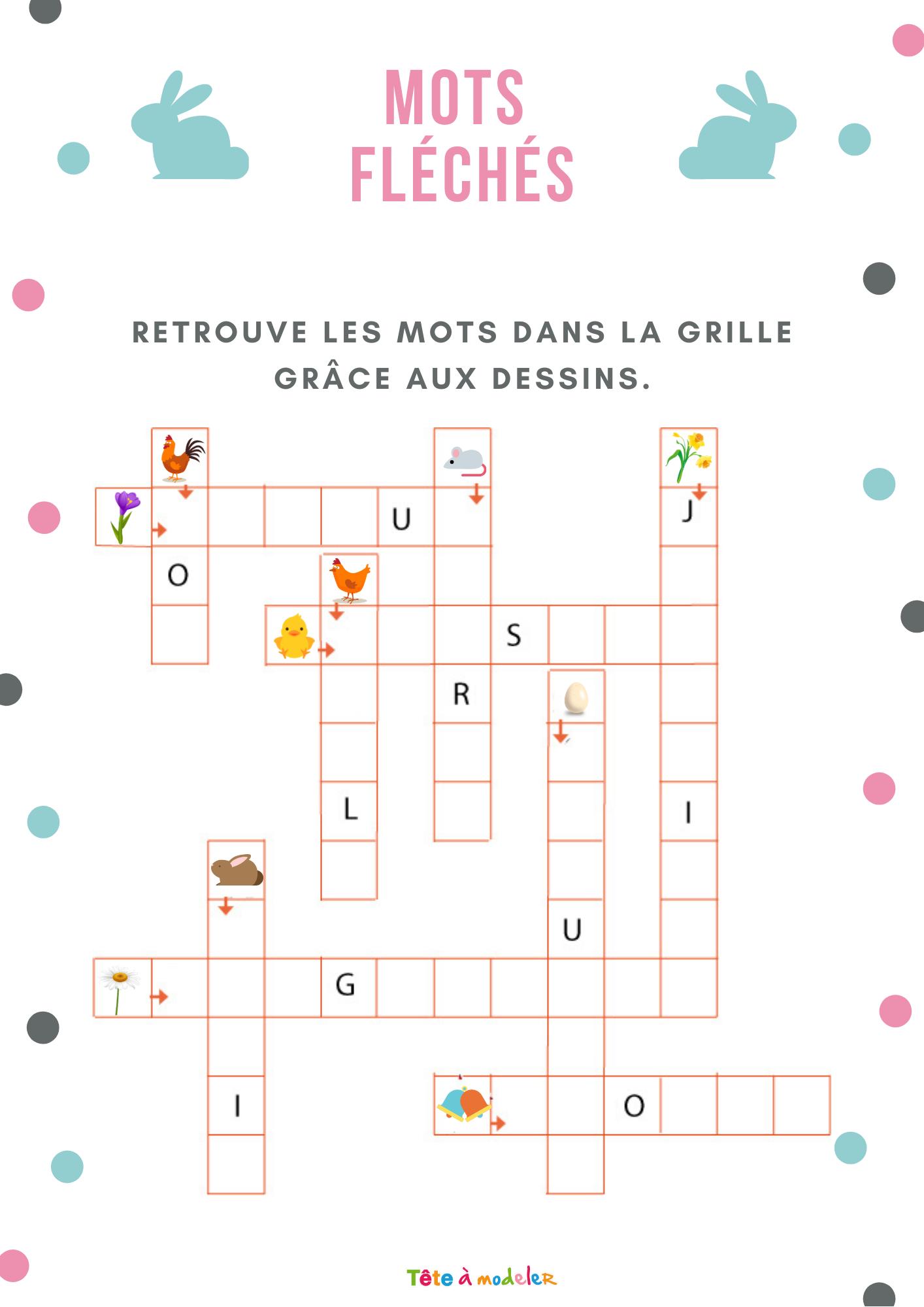 Jeu Gratuit À Imprimer : Mots Fléchés : Paques Est Arrivé à Mots Meles Gratuits En Français