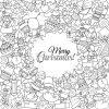 Jeu Merry Christmas De Noël Modèle Monochrome Et Des Modèles De Texte.  Idéal Pour Les Cartes De Voeux De Vacances, Imprimer, Coloriage Page Du  Livre encequiconcerne Carte De Noel A Colorier