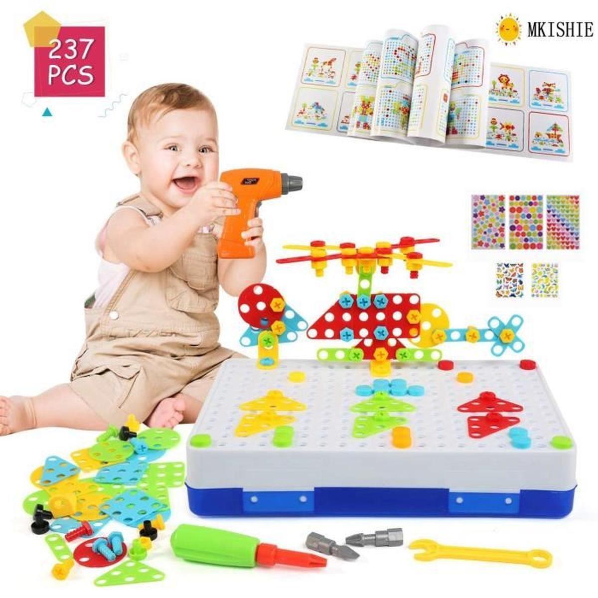 Jeu Mosaique Enfant, 3D Jeu De Construction, Perceuse avec Puzzle Fille 3 Ans