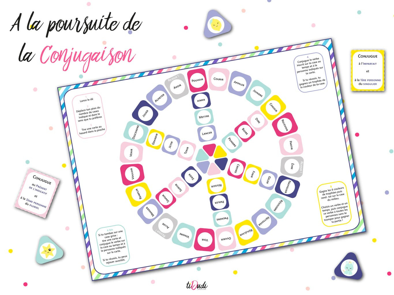 Jeu Pour Apprendre La Conjugaison - Kit Pédagogique - Tidudi serapportantà Verbe Jeux