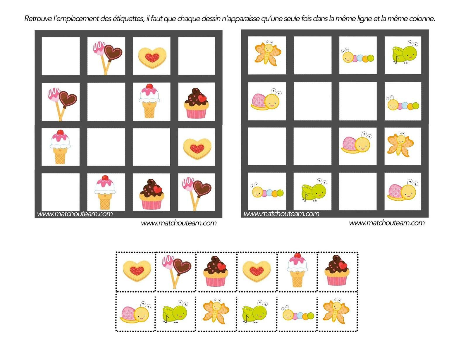 Jeu Pour Esprit Logique   Jeux De Logique, Jeux De Reflexion à Grille Sudoku Gratuite À Imprimer
