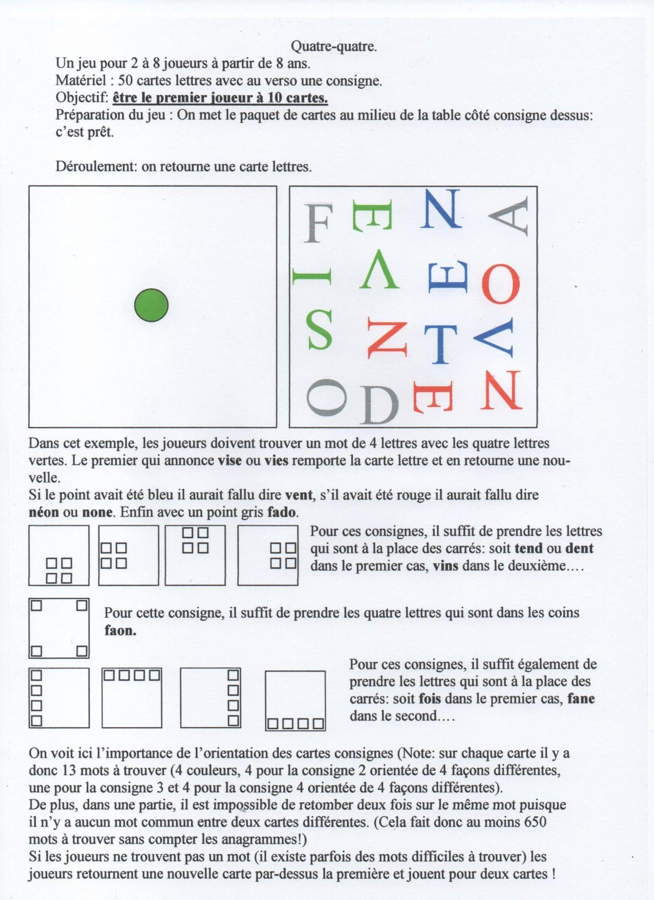 Jeu Quatre Quatre Sur Les Mots De Quatre Lettres avec Jeux Quatre Image Pour Un Mot