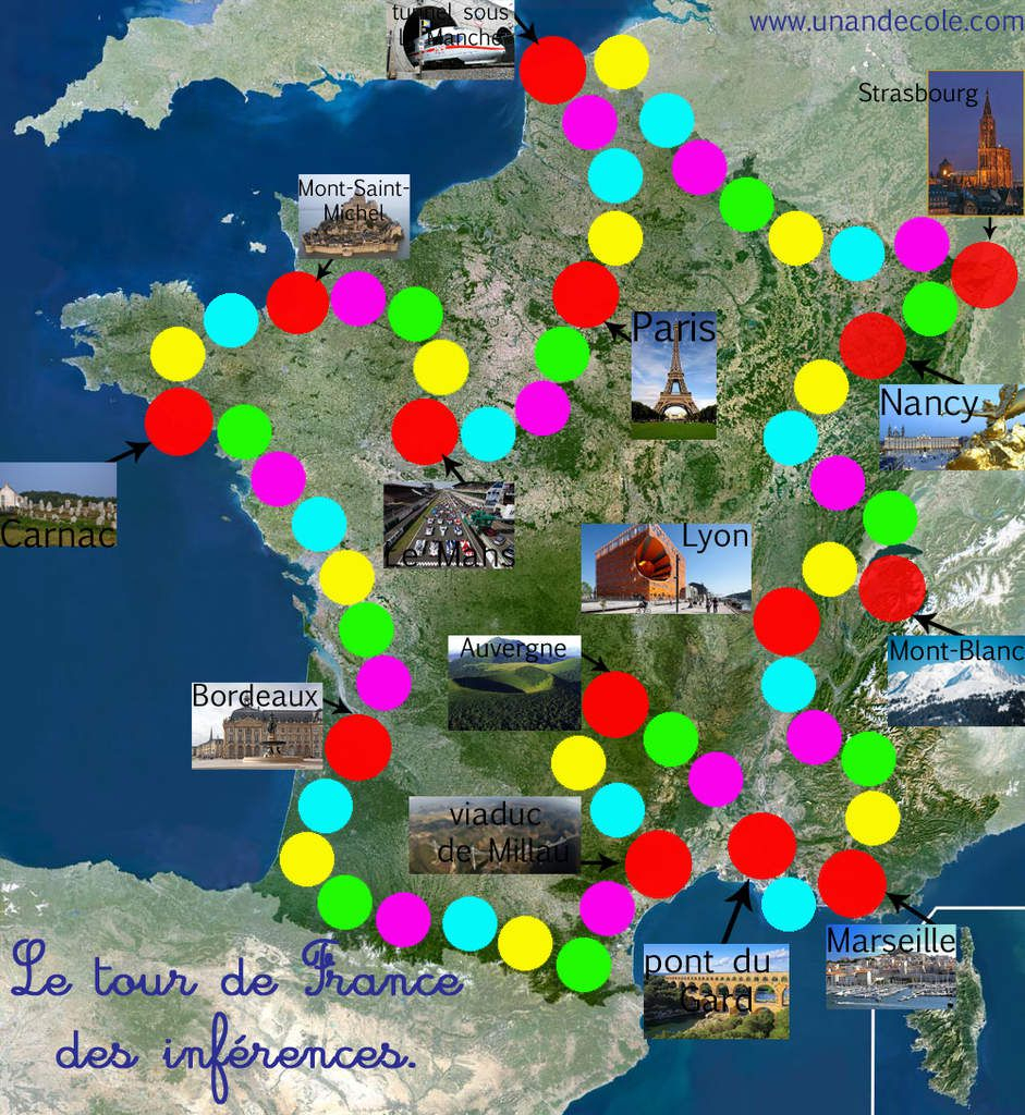 Jeu : Tour De France Des Inférences Gs, Cp, Ce1, Ulis - Un dedans Carte De France Ce1