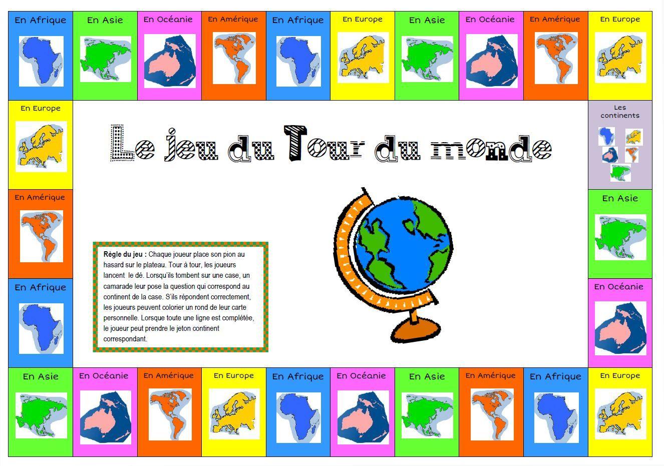 Jeu Tour Du Monde Pour Cloturer Le Projet | Jeu Pays Du serapportantà Jeux De Carte Geographique Du Monde