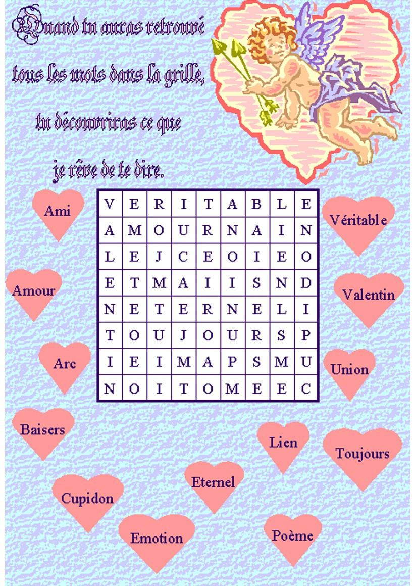 Jeux De Mots Mêlés De La Saint-Valentin - Fr.hellokids avec Jeux Mots Mélés