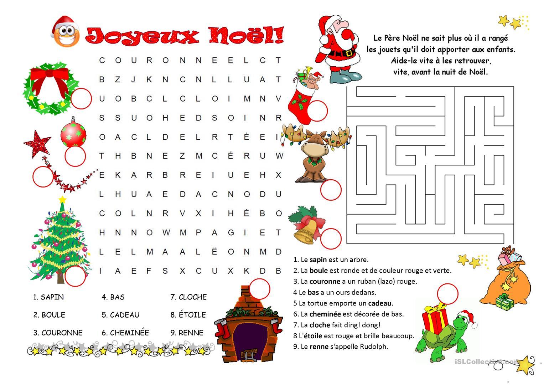 Jeux De Noël - Français Fle Fiches Pedagogiques tout Jeu Noel Maternelle