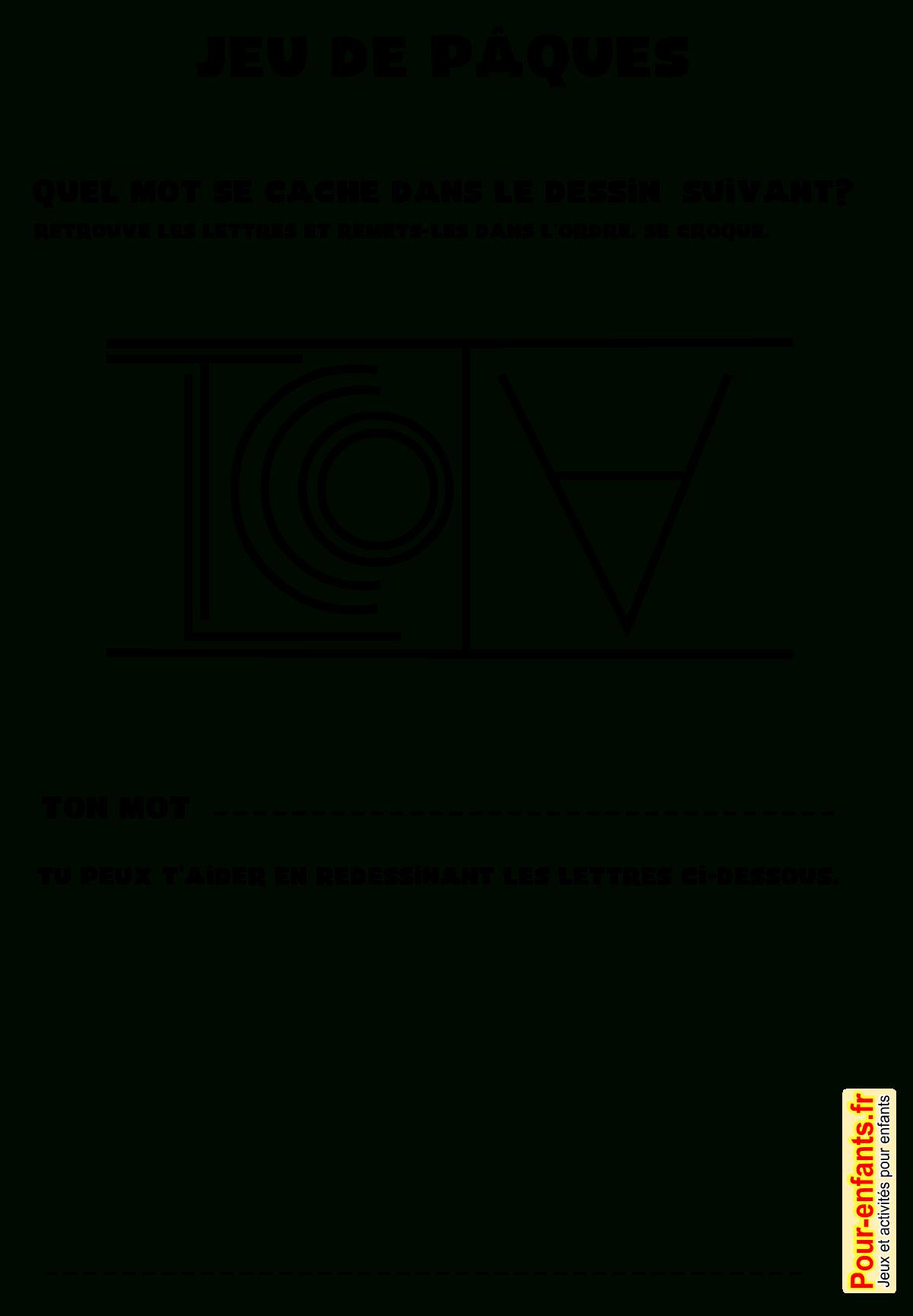 Jeux De Pâques À Imprimer Jeu De Mots Avec Solution à Jeux Pour Cm2