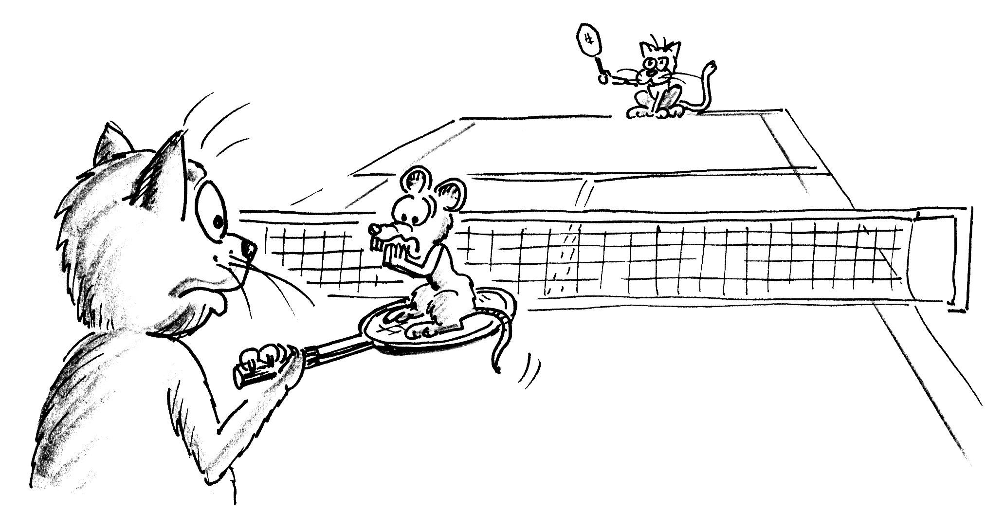 Jeux De Renvoi Avec Enfants – Tennis: Le Chat Et La Souris pour Jeux De Dessin De Chat