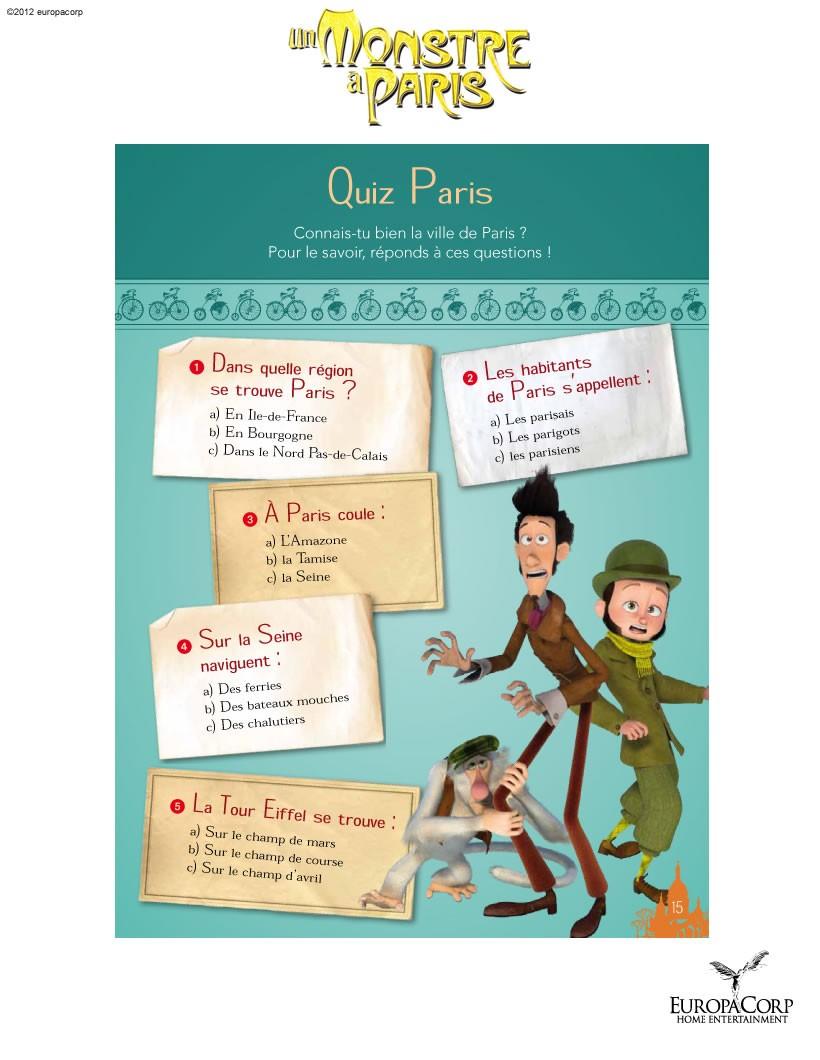 Jeux De Un Monstre À Paris : Quizz N°1 - Fr.hellokids destiné Quizz Enfant