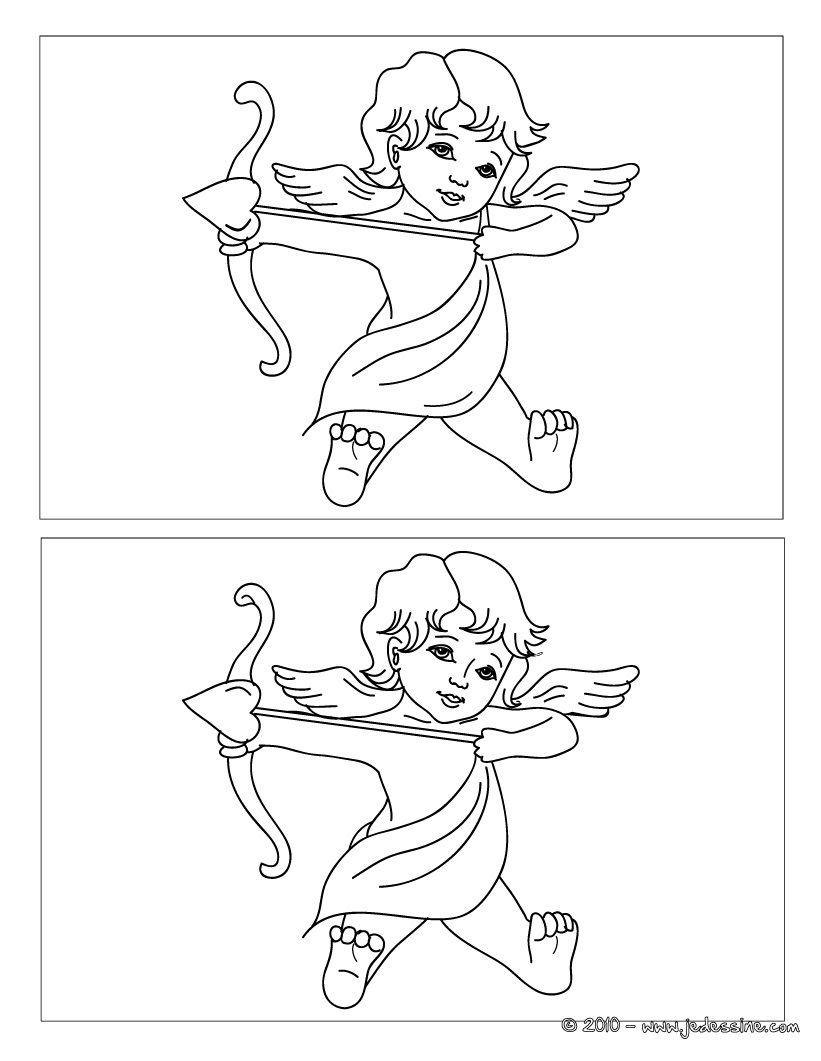Jeux Des 12 Différences Cupidon | Coloriage Mariage, Cupidon avec Jeu Des 7 Differences