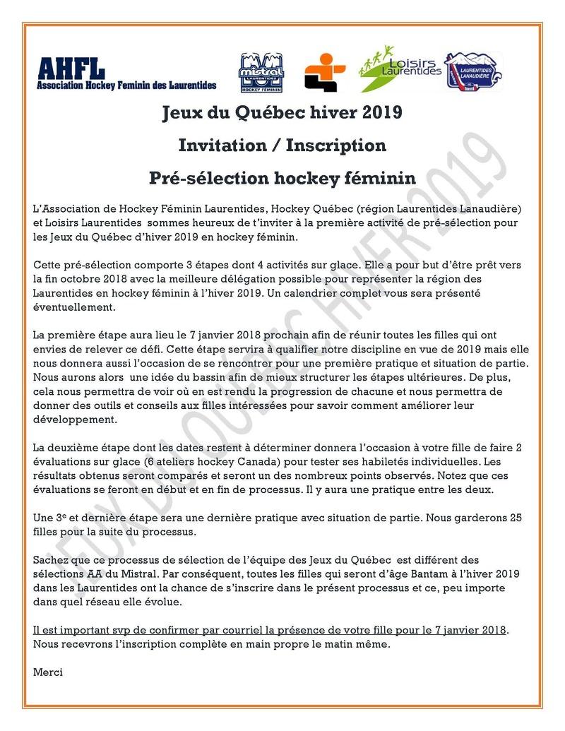 Jeux Du Québec 2019 | Association Hockey Féminin Des Laurentides encequiconcerne Inscription Jeux De Fille
