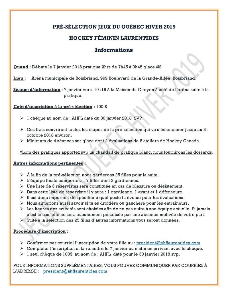 Jeux Du Québec 2019 | Association Hockey Féminin Des Laurentides tout Inscription Jeux De Fille