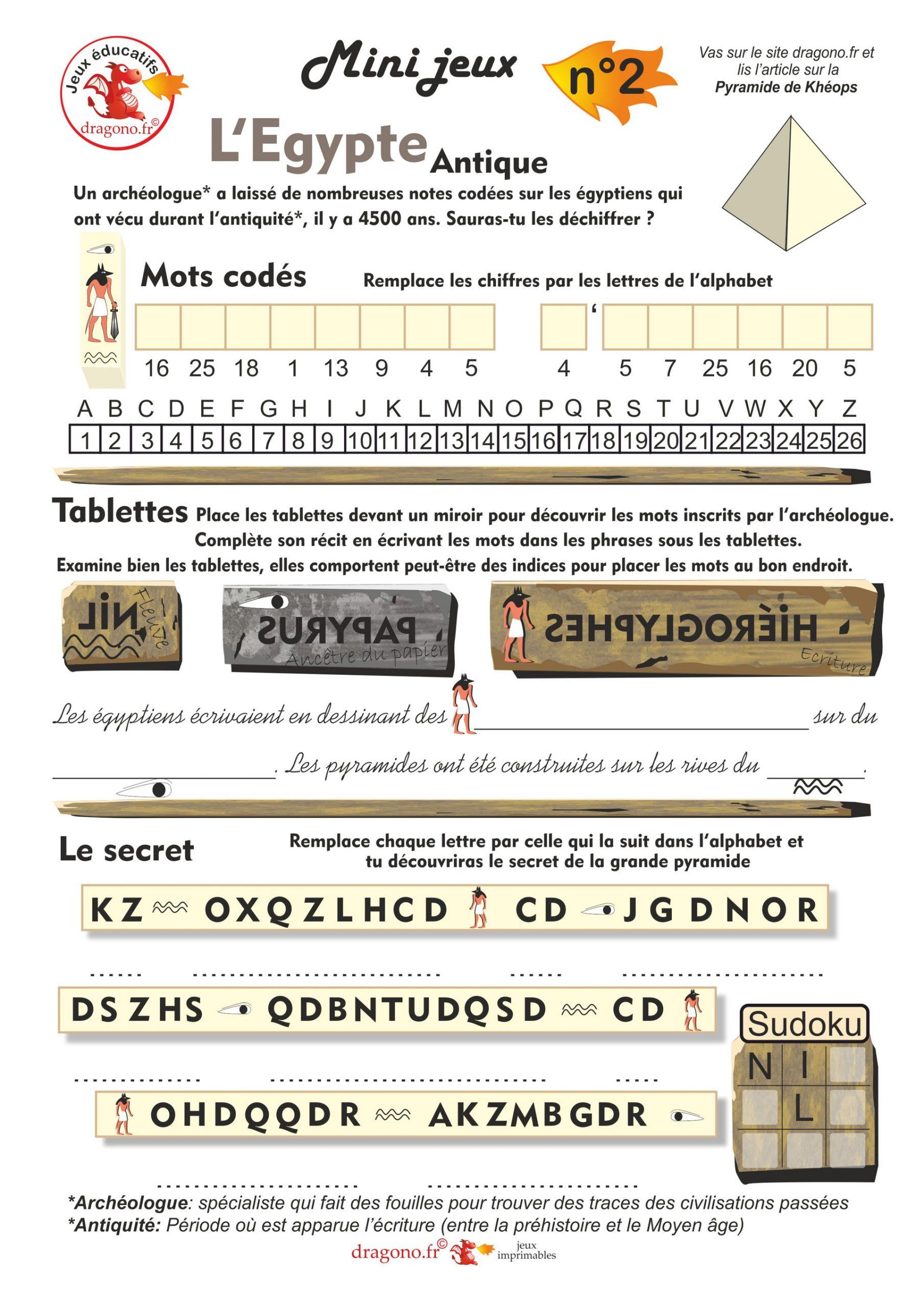 Jeux Éducatifs Sur L'égypte - Dragono.fr dedans Jeux Sudoku À Imprimer