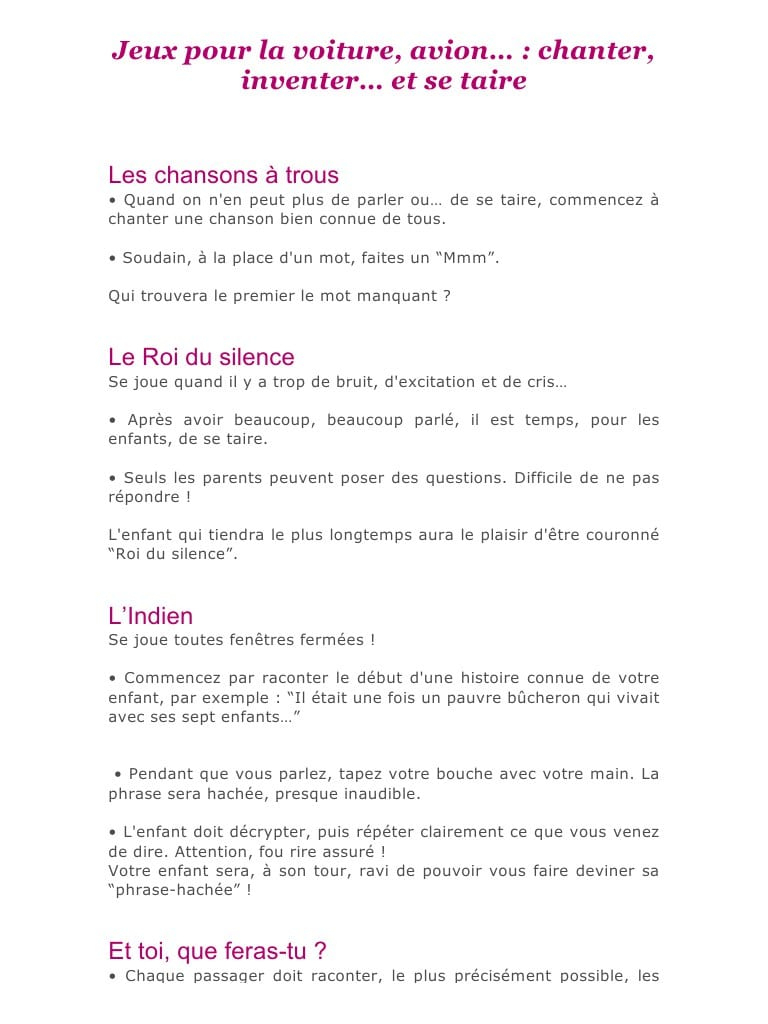 Jeux Pour La Voiture .docx - Jeux Pour La Voiture Pdf intérieur Jeux A Faire Dans La Voiture
