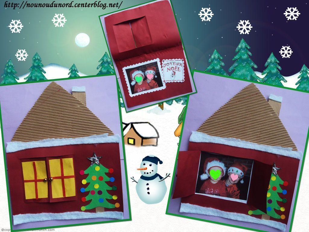 Jolie Carte De Noël En Forme De Maison Enneigée pour Cartes De Noel Maternelle