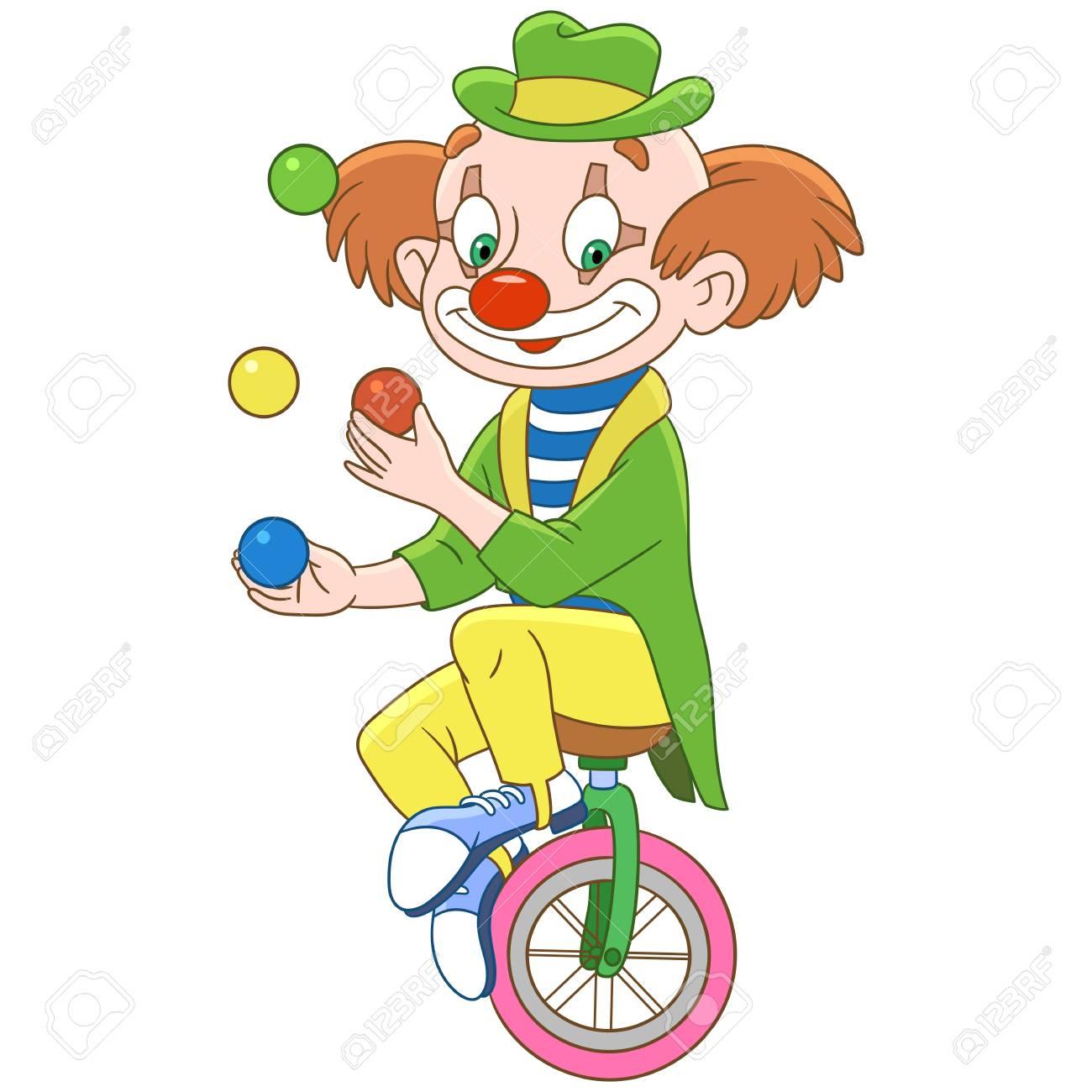 Jonglage De Clown De Dessin Animé, Isolé Sur Fond Blanc. Conception De Page  De Livre Coloré Pour Les Enfants Et Les Enfants. intérieur Dessin De Clown En Couleur