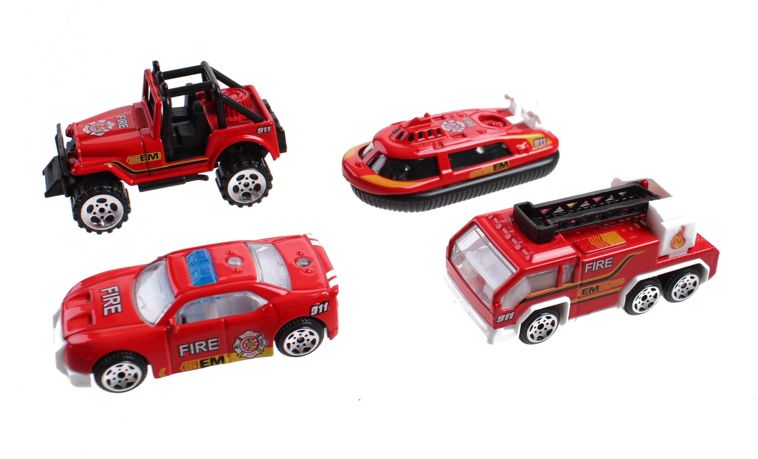 Jonotoys Jeu De Voitures De Pompiers 4 Pièces Rouge 7 Cm pour Jeux De Voiture Rouge