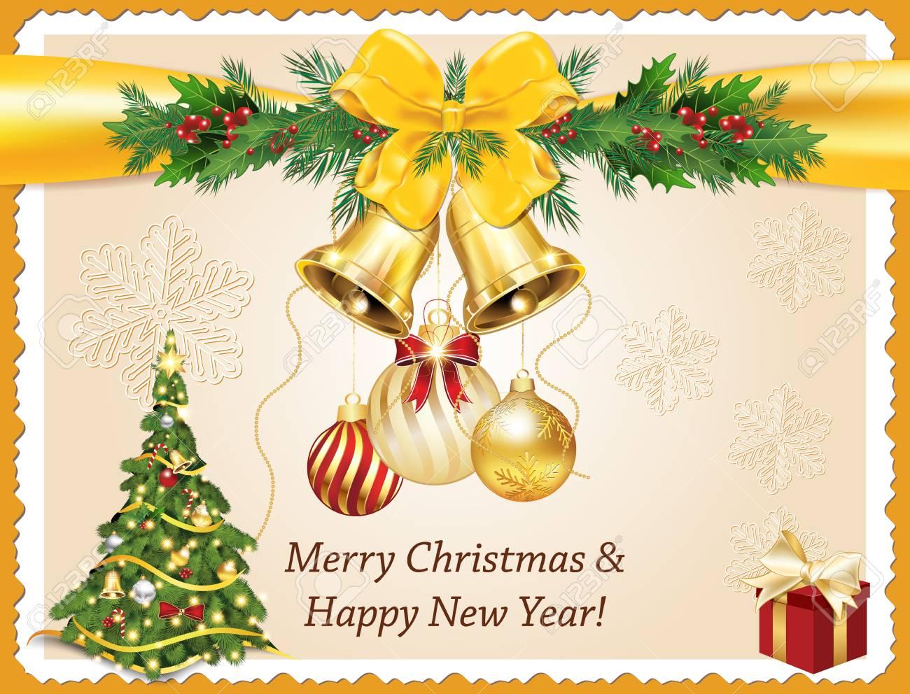 Joyeux Noel Et Bonne Année! Élégante Carte De Voeux Imprimable Avec Arbre  De Noël, Boules De Noël, Clochettes, Décorations De Noël. Imprimer Les serapportantà Décorations De Noel À Imprimer