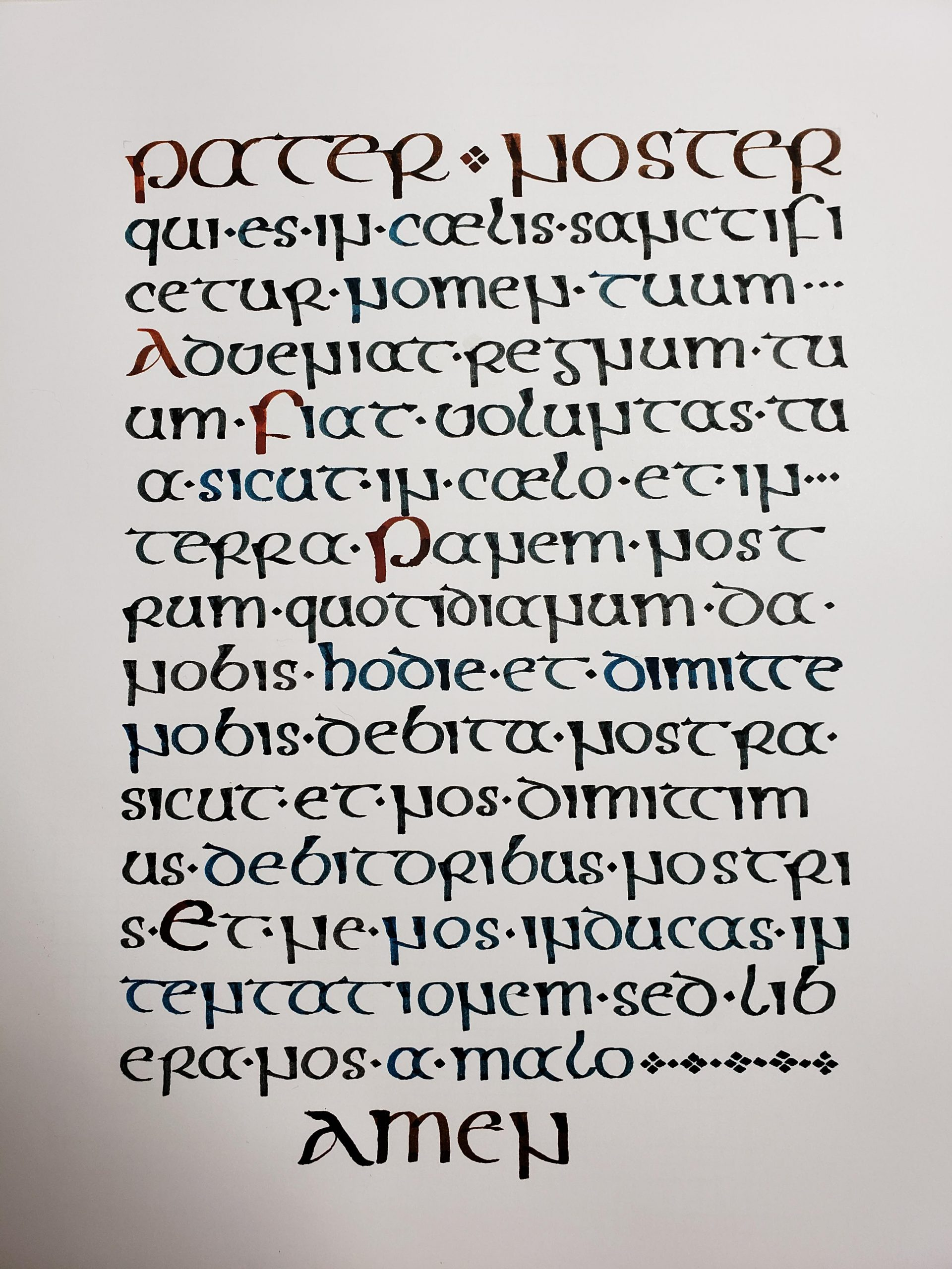 Just Finished! Pater Noster (Our Father In Latin) In Insular intérieur Majuscule Script