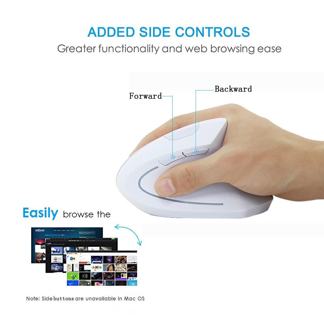Kablosuz Dikey Fare Ergonomik Optik Beyaz Bilgisayar Oyun Fare  800/1200/1600 Dpi Gamer Mouse Pc Laptop Için Ped Ile encequiconcerne La Souris Du Web