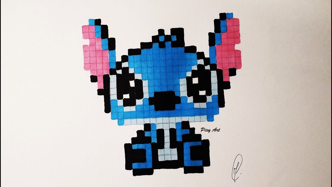 Kawaii Baby Stitch Pixel Drawing - Real Time serapportantà Pixel Art Facile Fille