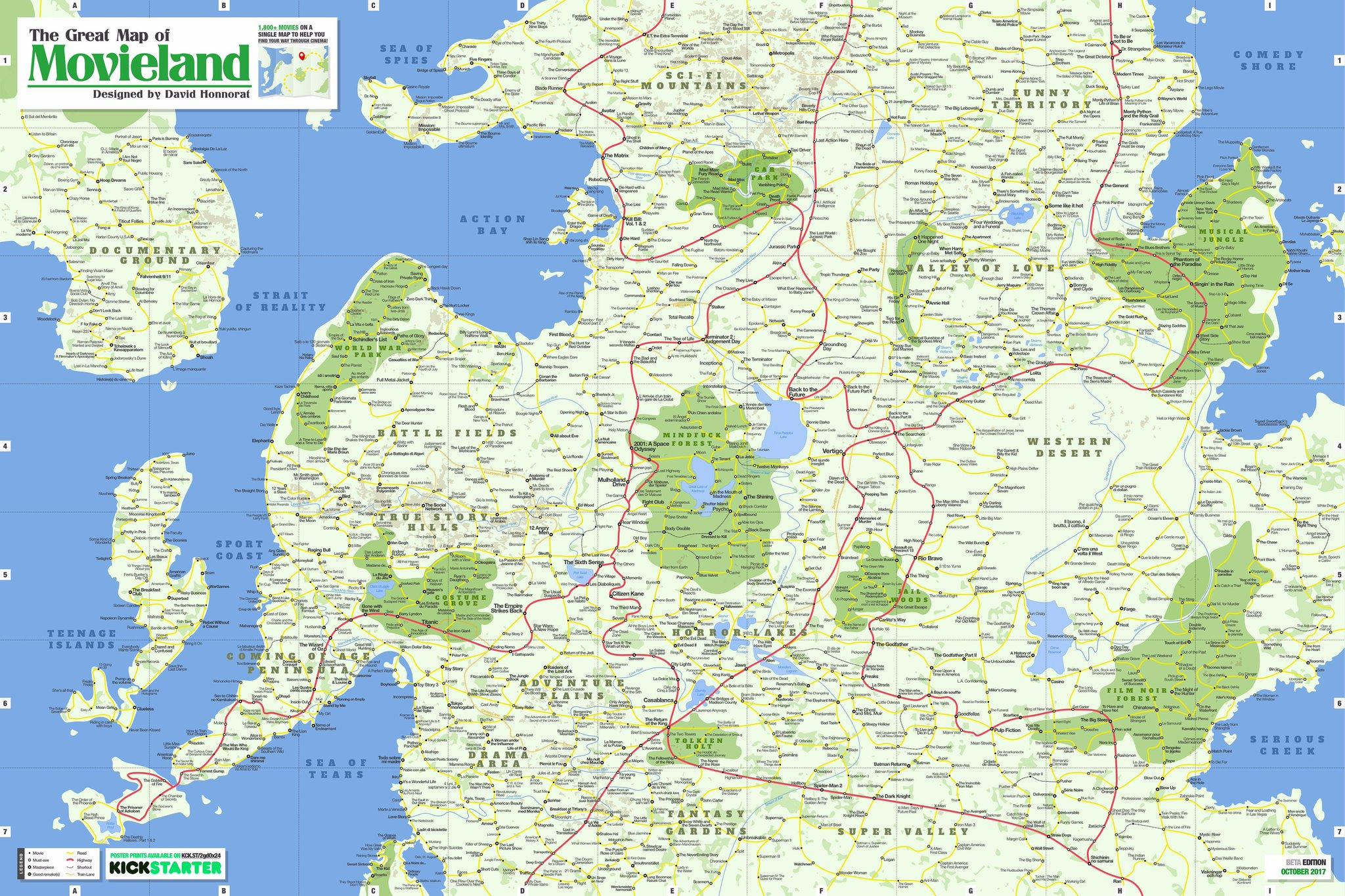 Kickstarter] Movieland : Une Magnifique Carte Du Monde Pour à Jeux De Carte Geographique Du Monde
