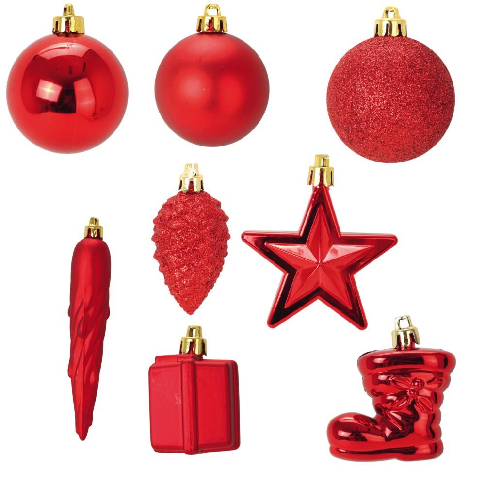 Kit 40 Boules Et Décorations De Noël Rouge Diamètre 6Cm pour Décorations De Noel À Imprimer