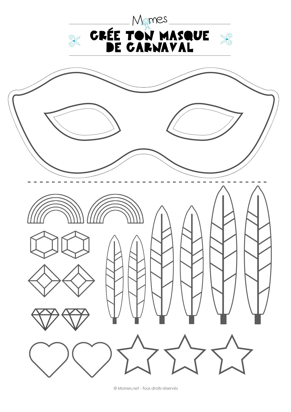 Kit Pour Faire Un Masque De Carnaval | Masque Carnaval intérieur Masque Carnaval Maternelle À Imprimer