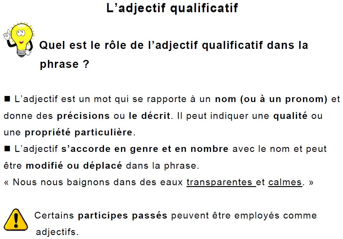L' Adjectif Qualificatif 6Ème Leçon Et Exercices destiné Exercice Gratuit Cm2