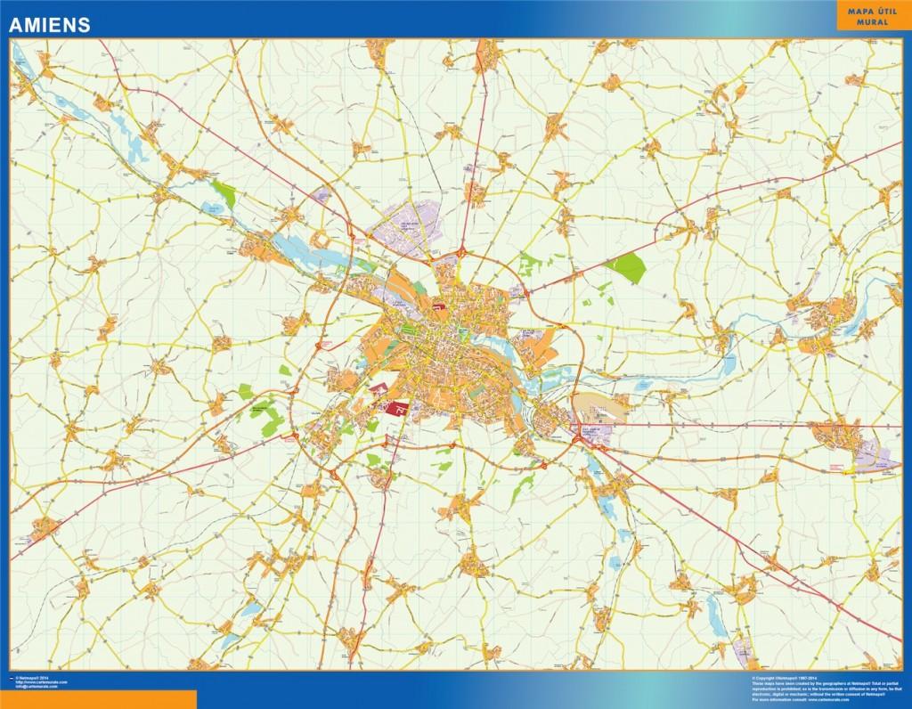 La Carte De Amiens | | Cartesmurales.fr serapportantà Departement Et Chef Lieu