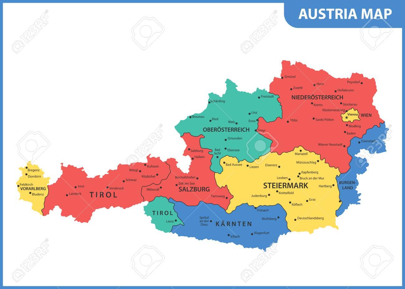 La Carte Détaillée De L'autriche Avec Des Régions Ou Des États Et Des  Villes, Capitale intérieur Carte De France Détaillée Avec Les Villes