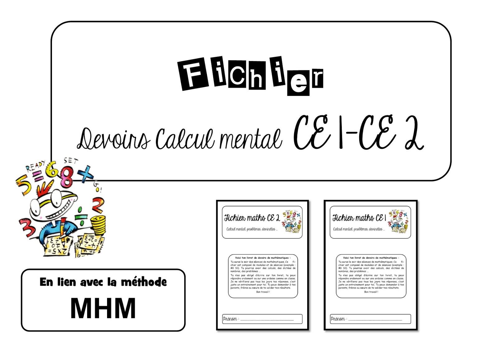 La Classe De Virginia: Fichier Devoirs Maths Ce1-Ce2 Méthode Mhm encequiconcerne Exercice Problème Ce1