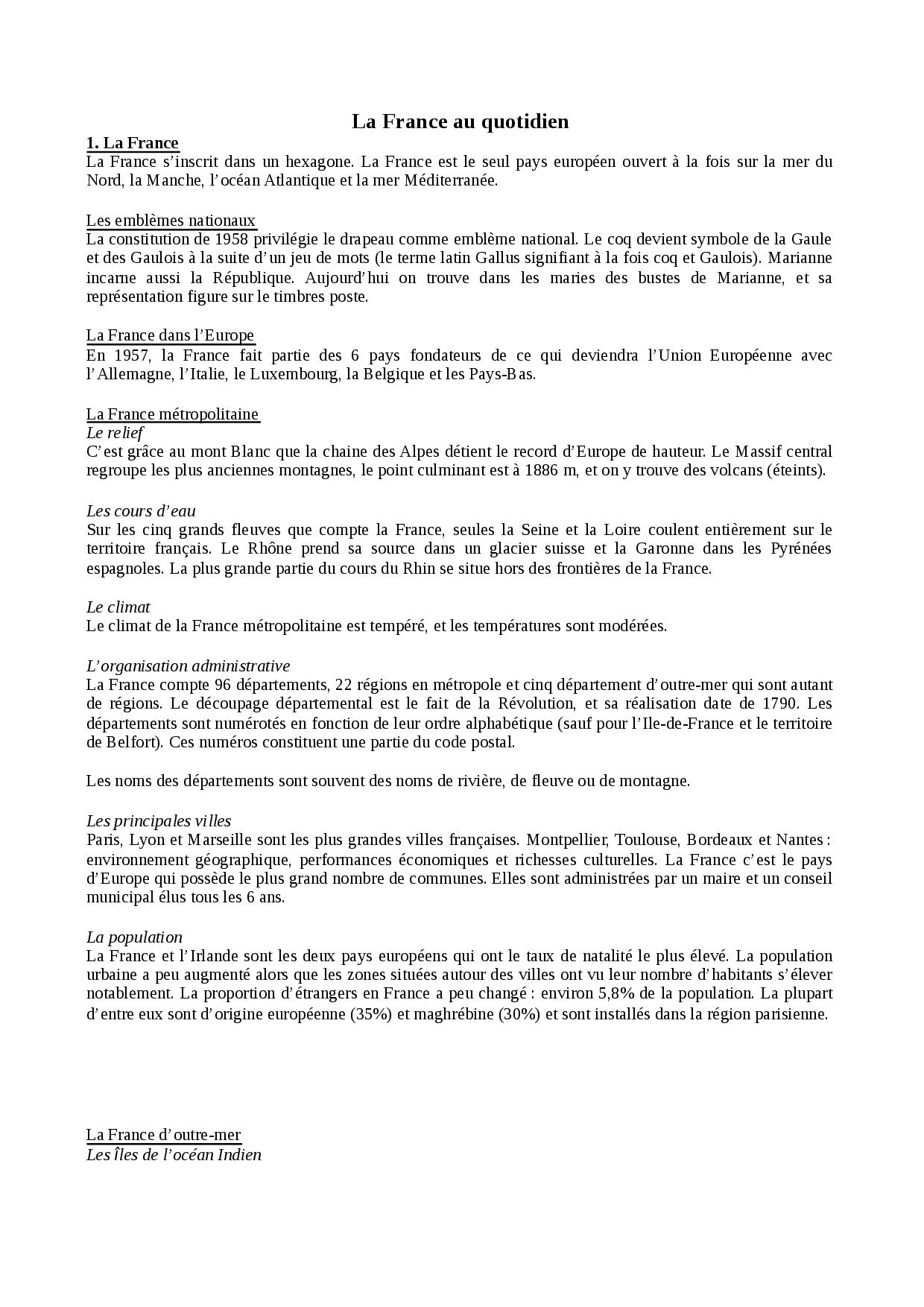 La France Au Quotidien - Docsity avec Les 22 Régions De France Métropolitaine