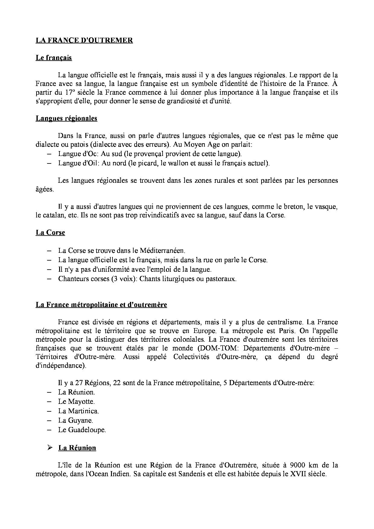La France D'outremer - Apuntes De Idioma Francés - Docsity destiné Les 22 Régions De France Métropolitaine