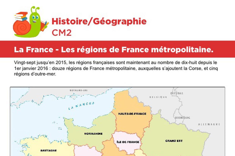 La France, Les Régions De France Métropolitaine concernant Carte De France Ce2