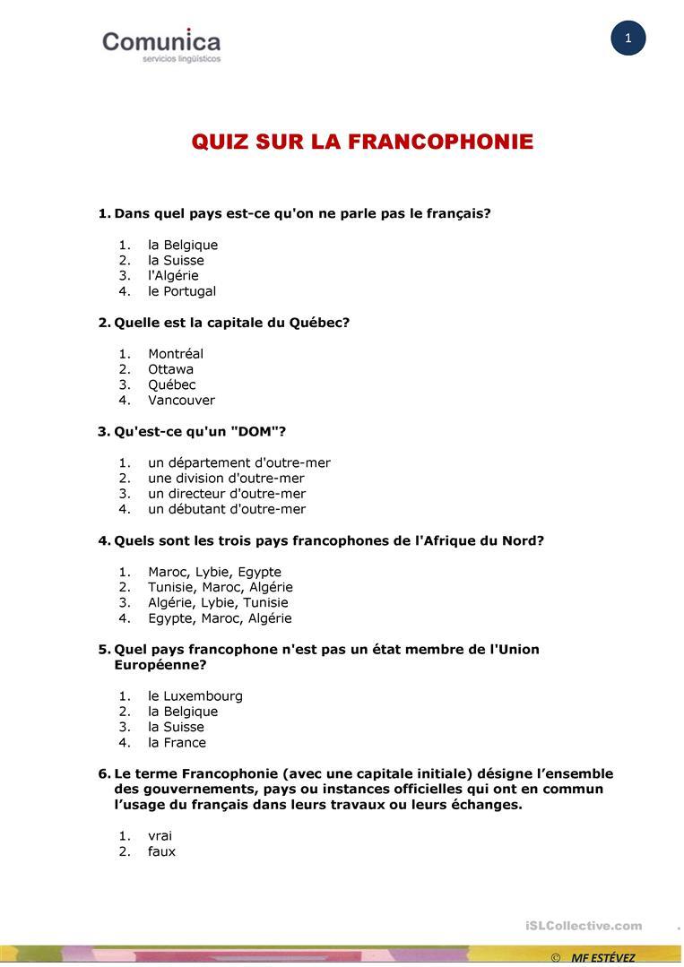 La Francophonie-Quiz - Français Fle Fiches Pedagogiques avec Quiz Sur Les Capitales De L Union Européenne