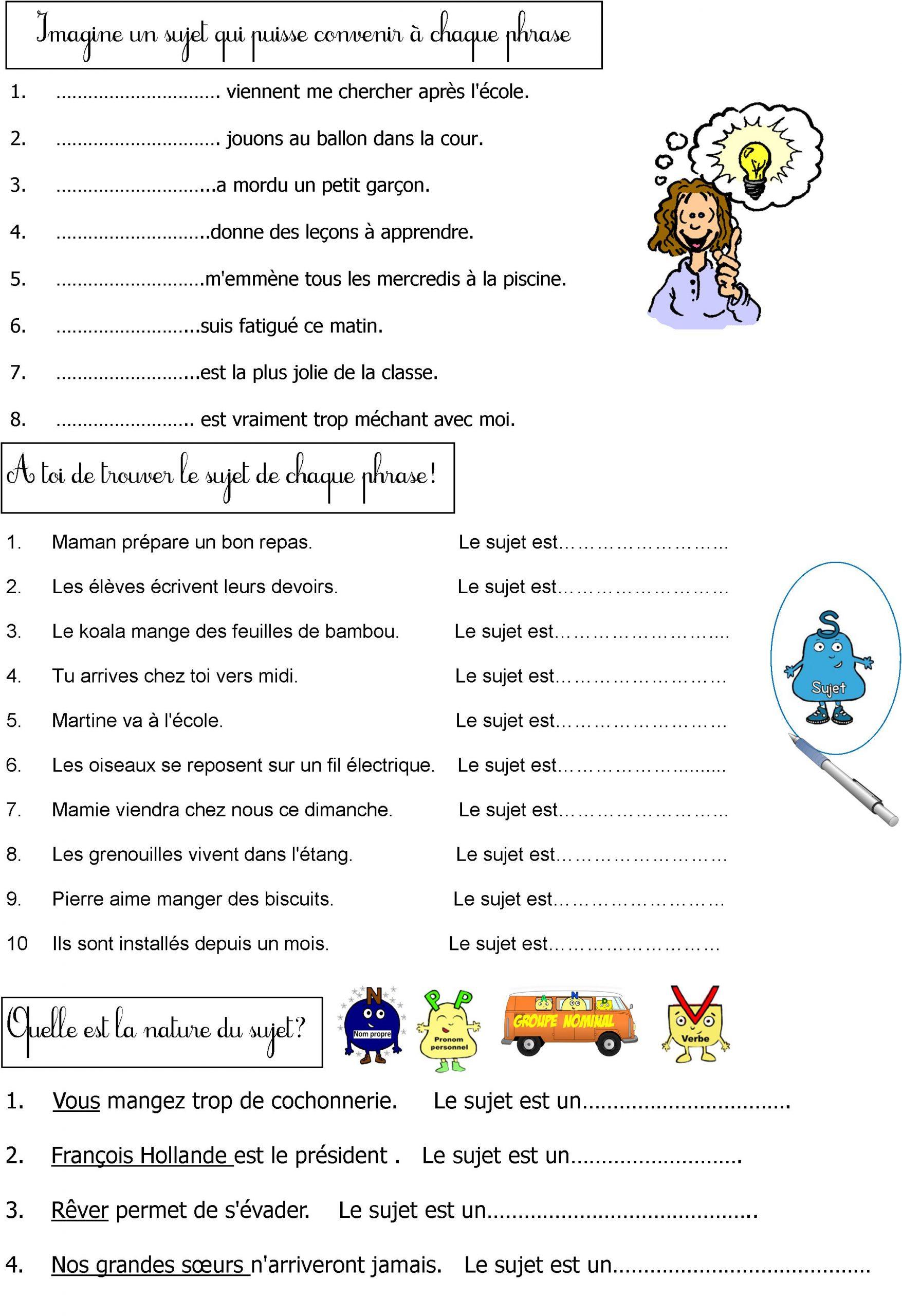 La Grammaire En Jouant | Le Blog De Monsieur Mathieu à Exercice Gratuit Ce1