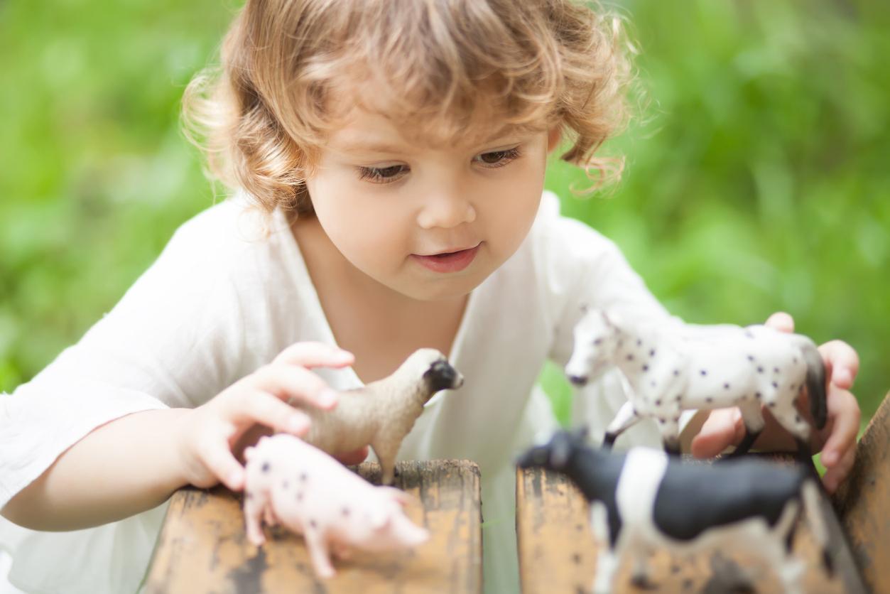La Place Des Figurines Dans Le Jeu Des Jeunes Enfants intérieur Jeux Enfant Animaux