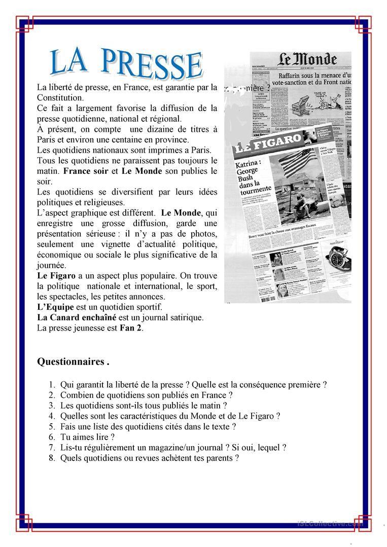 La Presse | Français Débutant, Apprentissage De La Langue à Apprendre A Ecrire Le Francais Pour Debutant
