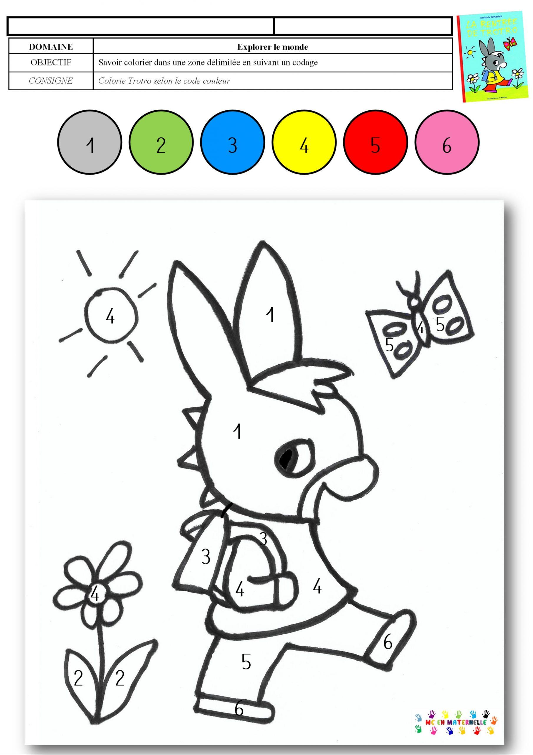 La Rentrée De Trotro : Coloriage Magique – Mc En Maternelle dedans Coloriage Maternelle Ps