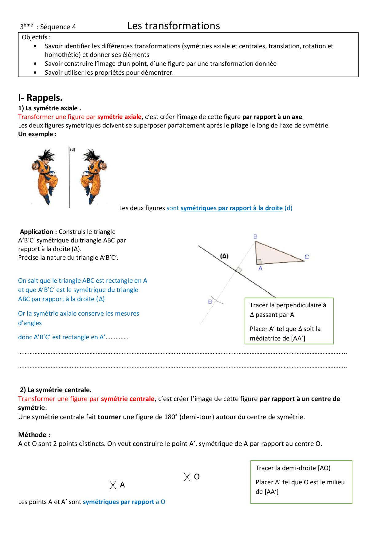 La Translation Pour Les Nuls - Docsity pour Symétrie Axial