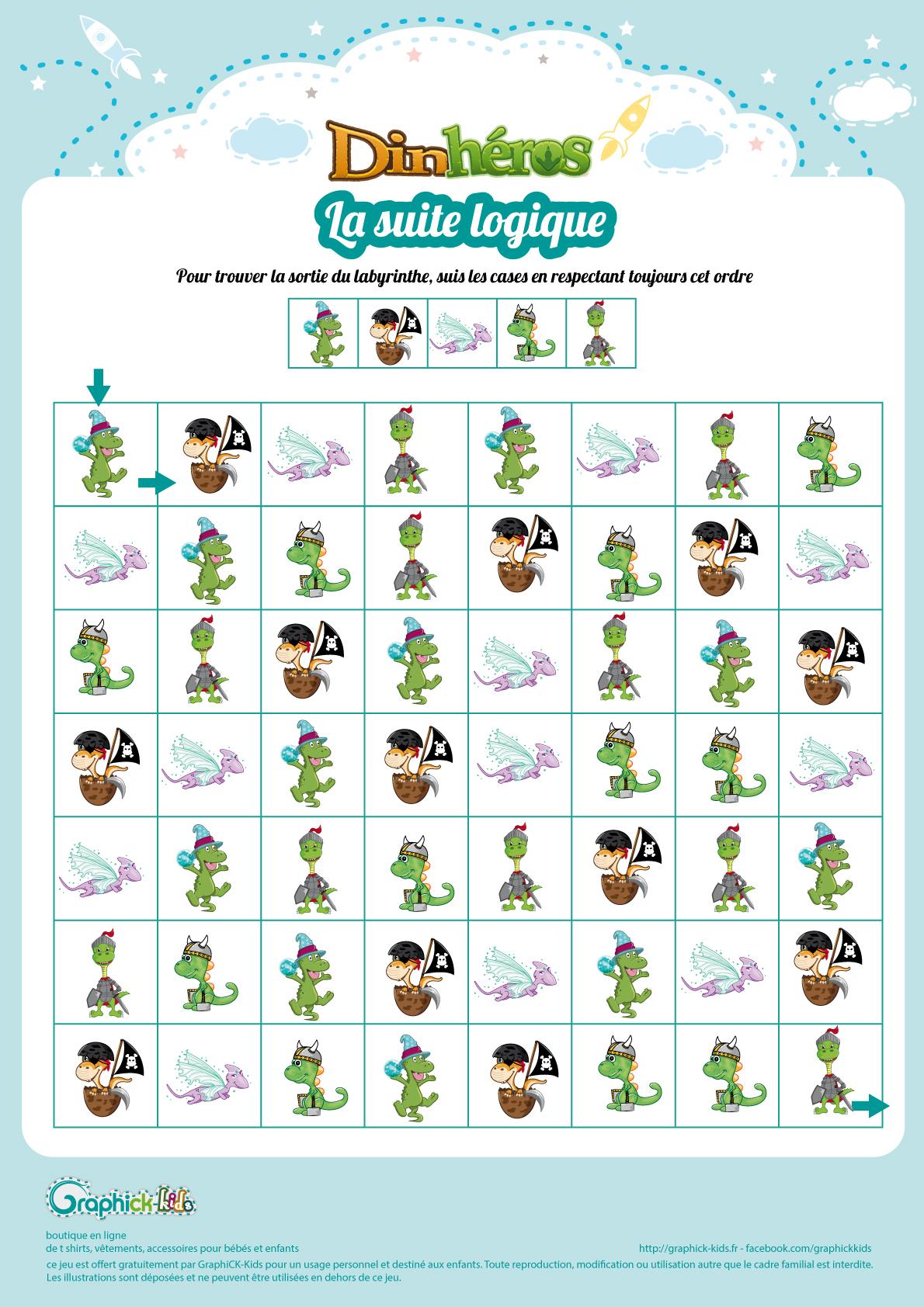 Labyrinthes Et Suite Logiques Gratuits, À Imprimer, Pour Enfants pour Jeux De Concentration À Imprimer