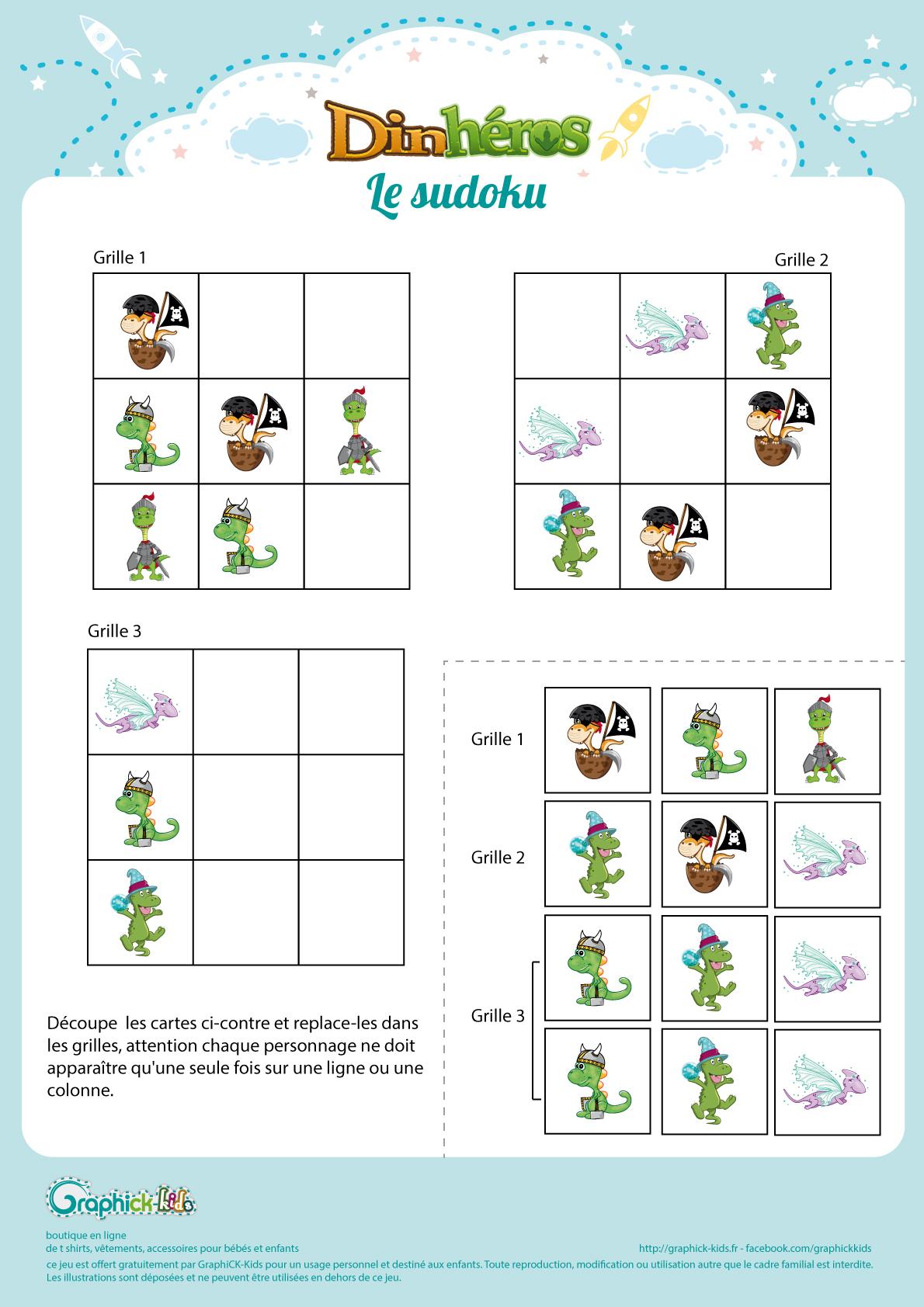 L'activité Du Mercredi : Le Sudoku Des Dinhéros - Graphick-Kids avec Grille Sudoku Gratuite À Imprimer