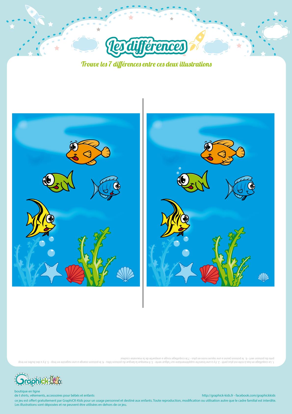 L'activité Du Mercredi : Les Différences De L'océan intérieur Jeu Des 7 Differences